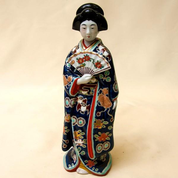 Редкая! Коллекционная Фарфоровая Статуэтка «Гейша с веером» Япония,  SATSUMA 50гг.