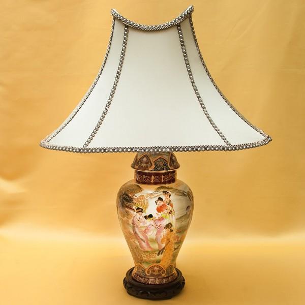 Настольная Электрическая Лампа - Светильник «ПАГОДА» в технике «Мориаж» SATSUMA Япония.