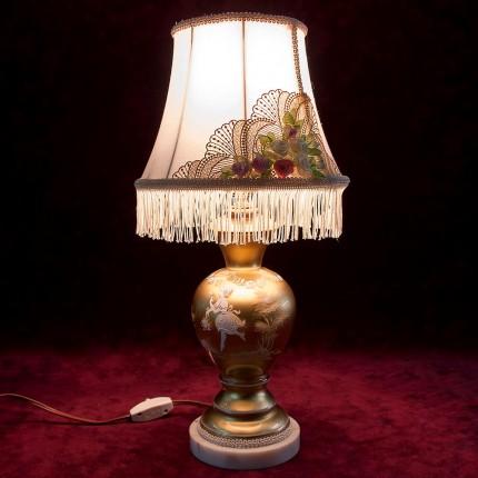 Винтажная Настольная Электрическая Лампа - Светильник «Mary Gregory» США 60 -е годы ХХ века.