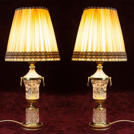Парные Настольные Лампы Светильники «Lyyus-Rosse» в хрустальном корпусе. Франция  Н-55см.