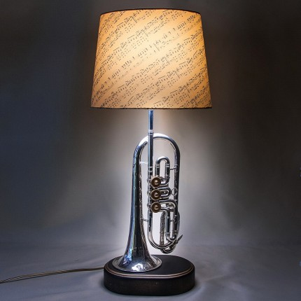 Дизайнерская Электрическая Настольная Лампа Светильник «Труба - Корнет - 1966г».