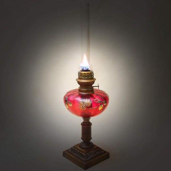 Керосиновая Лампа Стекло Роспись A. & P. Gaudard, Morbier, Франция, первая половина ХХ века.