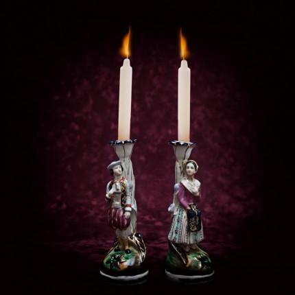 «Свидание при свечах» - Парные Подсвечники, Статуэтки, Фарфор Франция