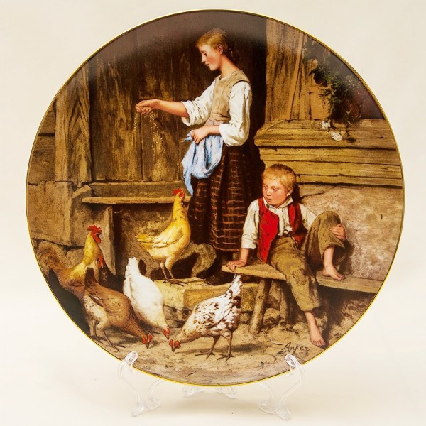 Коллекционная Тарелка «Девочка кормит кур» серия «Детские портреты» Швейцария -1987г.
