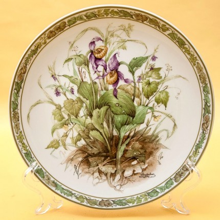 Коллекционная Тарелка «Цветы - Венерин Башмачок» Фарфор, Lilien Porzallan, Австрия -1992 год.