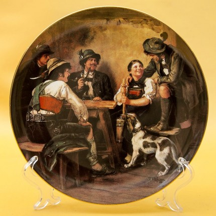 Коллекционная Тарелка «Охотники на Постоялом дворе» Фарфор, Lilien Porzallan, Австрия -1992 год.