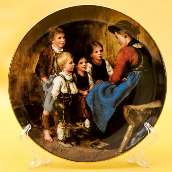 Коллекционная Тарелка «Интересный рассказ» Фарфор, Lilien Porzallan, Австрия -1989 год.