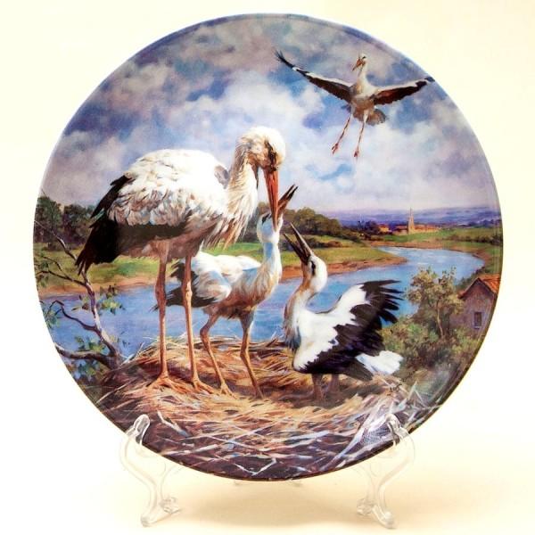 Коллекционная Тарелка «Аисты в гнезде» серия «Птицы у воды», Фарфор, Швейцария -1995г.