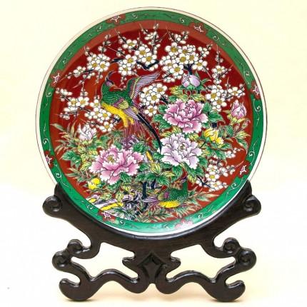 Коллекционная Тарелка «Цветы и Райские Птица» на деревянной прдставка Фарфор, Япония.