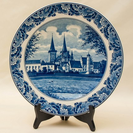 Редкая!!! Коллекционная Фарфоровая тарелка «ГОРОДСКОЙ СОБОР» DELFTs Голландия d - 29 см.