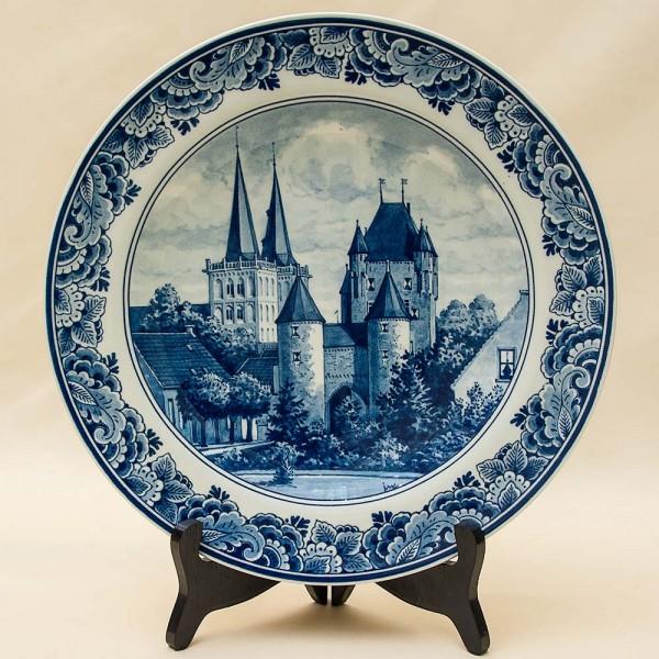 Редкая!!! Коллекционная Фарфоровая тарелка «ГОРОДСКОЙ ЗАМОК» DELFTs Голландия d - 29 см.