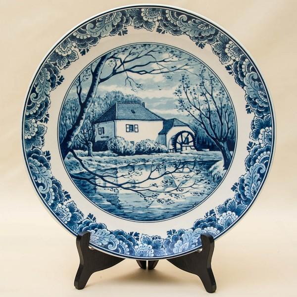 Редкая!!! Коллекционная Фарфоровая тарелка «ДОМ МЕЛЬНИКА» DELFTs Голландия d - 29 см.