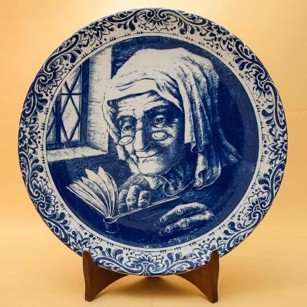 Декоративная Фарфоровая Тарелка «Ожидание» DELFTs- Royal Boch Бельгия d - 29 см.