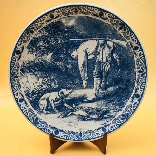 Коллекционная Декоративная Фарфоровая Тарелка «НА ОХОТЕ» Голландия DELFT, d -33 см.
