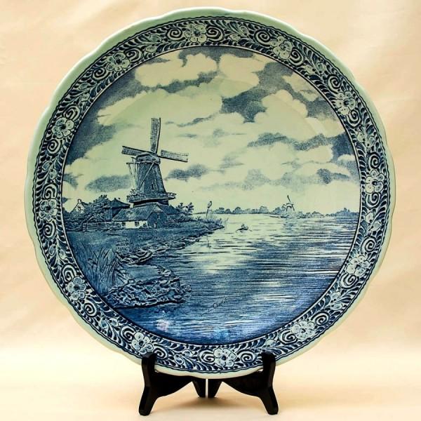 Большая Декоративная Фарфоровая Тарелка «Пейзаж с мельницей» ROYAL BOCH, d -40 см.