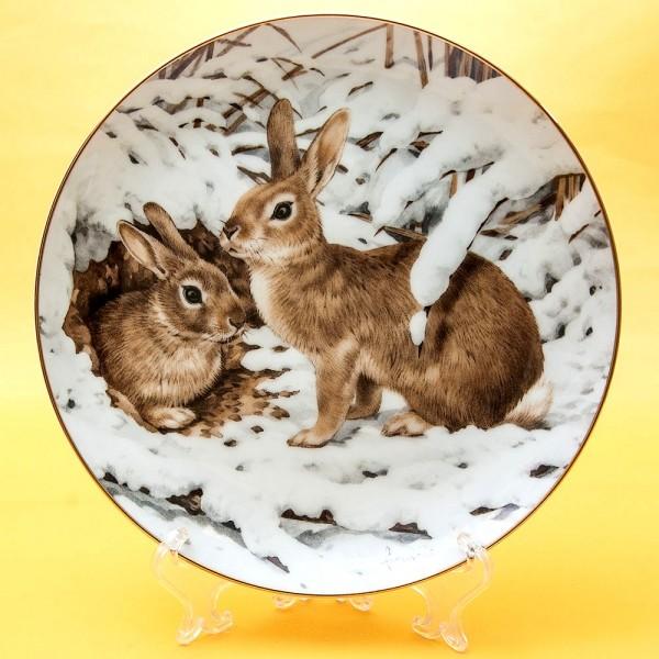 Коллекционная Тарелка «Лесной Год - ЯНВАРЬ» Фарфор, Studio Fine Porcelaine Англия -1983 год.