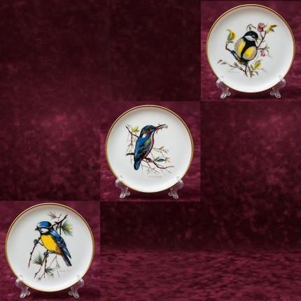 Набор из Трёх Коллекционных Тарелочек «Птицы» Фарфор KAISER Германия - 1975 год.