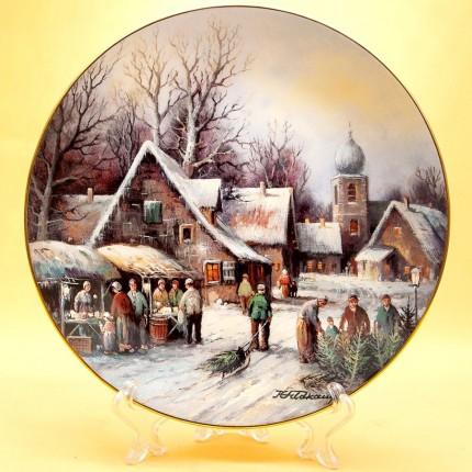 Коллекционная Тарелка «Рождественская ярмарка» Фарфор, Германия -1992 год.