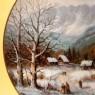 Коллекционная Тарелка «Церковь в Долине» из серии «Рождественские Гуляния» Фарфор, Германия -1990 год.