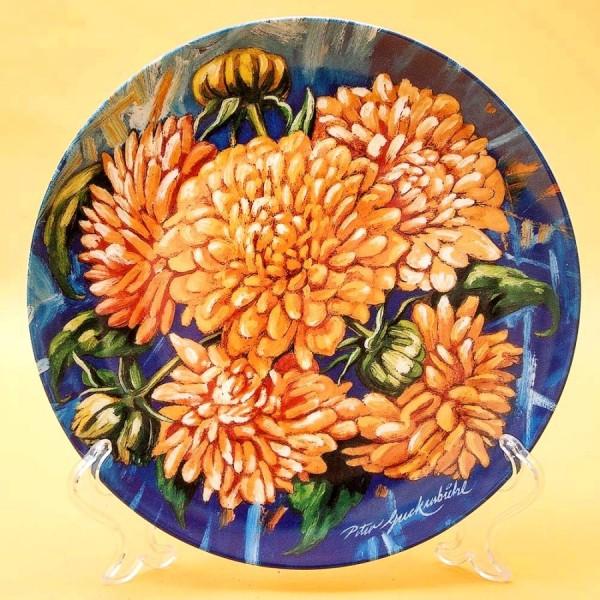 Коллекционная Тарелка «Георгины» Фарфор, Hutschenreuther, Германия -1997 год.