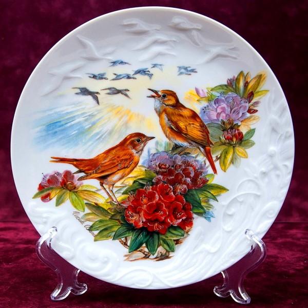 Коллекционная Тарелка «Соловьи» Фарфор, Розенталь Rosenthal Германия -1995 год.