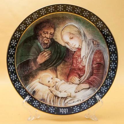 Коллекционная Новогодняя Рождественская Тарелка -1991 год. Фарфор, Königszelt Германия.