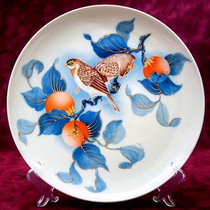 Коллекционная Авторская  Тарелка - Блюдо из серии «Птицы в саду» Фарфор KAISER Германия D -28 см.
