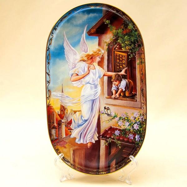 Коллекционная Тарелка «Ангел-Хранитель у окна». Фарфор, Германия, AnnaBurg, 1995 год.