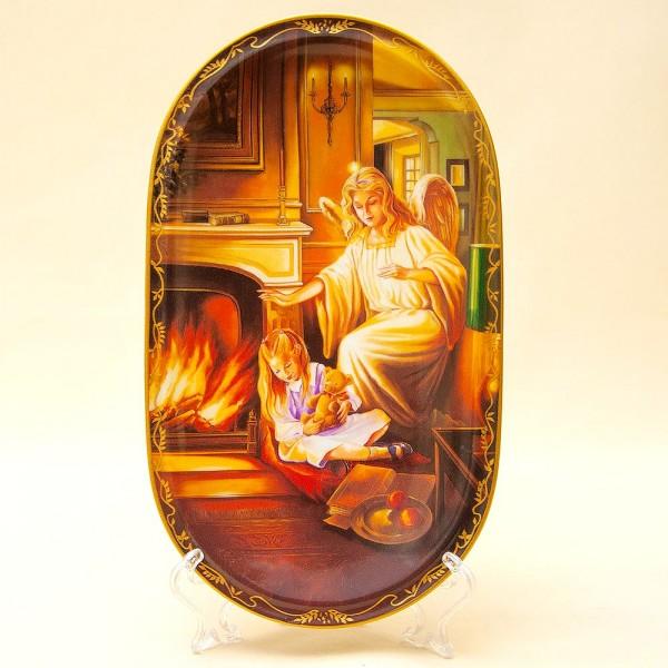Коллекционная Тарелка «Ангел-Хранитель у огня». Фарфор, Германия, AnnaBurg, 1995 год.