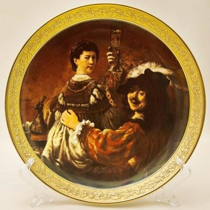 Коллекционная Тарелка - Блюдо «АВТОПОРТРЕТ- Рембрант с женой» Фарфор, Германия.