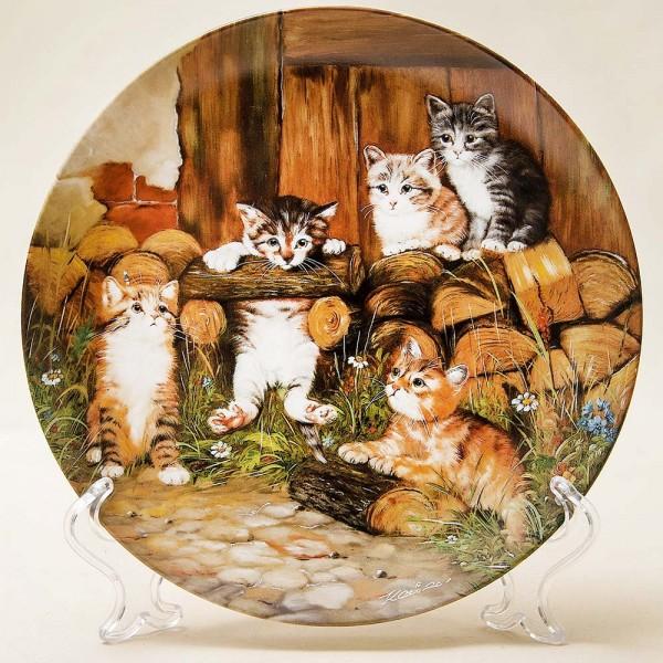 Коллекционная Тарелка «Кошачьи приключения»-«Гимнастика» Seltman Weiden, Германмия -1991 год..