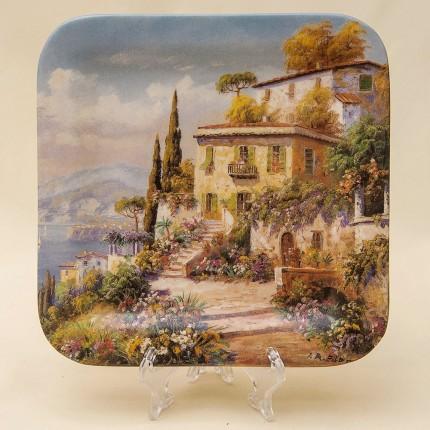 Коллекционная Тарелка «Цветочная магия в бухте» Фарфор, Porcellane Fontana, Италия -1994год.