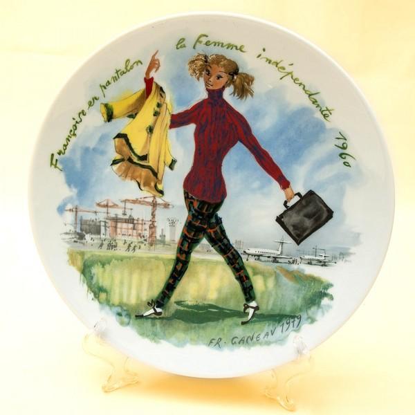 Коллекционная Тарелка «Женщина и 1960 год » Фарфор, Лимож, Limoges, Франция -1979 год.