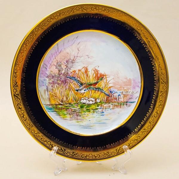 «ОХОТА» - Коллекционная Тарелка «ЛЕТО - Утка на Озере» Фарфор, Лимож (Limoges) Франция.