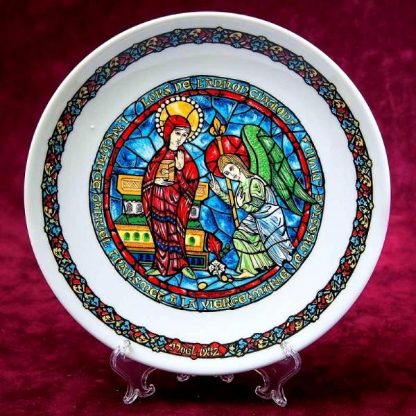 Коллекционная Тарелка - Блюдо «Благовещение» Фарфор, Henri d'Arceau-Limoge, Франция -1982 год.