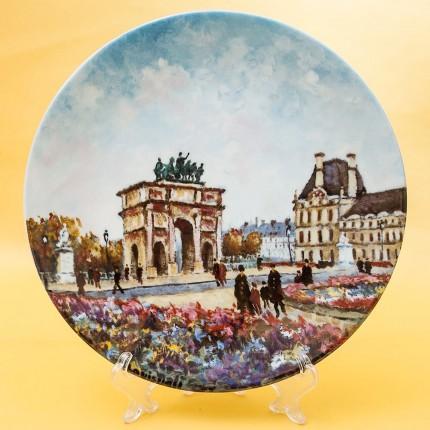 Коллекционная Тарелка «Париж - Сад Тюлирьи и Арка Каррузель» Фарфор, Лимож, Limoges, Франция.