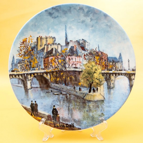 Коллекционная Тарелка «Париж - Мост сквера Вер-Галан» Фарфор, Лимож, Limoges, Франция.
