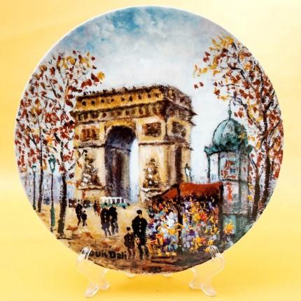Коллекционная Тарелка «Париж - Триумфальная Арка» Фарфор, Лимож, Limoges, Франция.