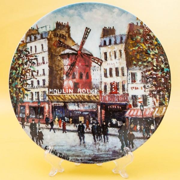 Коллекционная Тарелка «Париж - Мулен Руж» Фарфор, Лимож, Limoges, Франция.