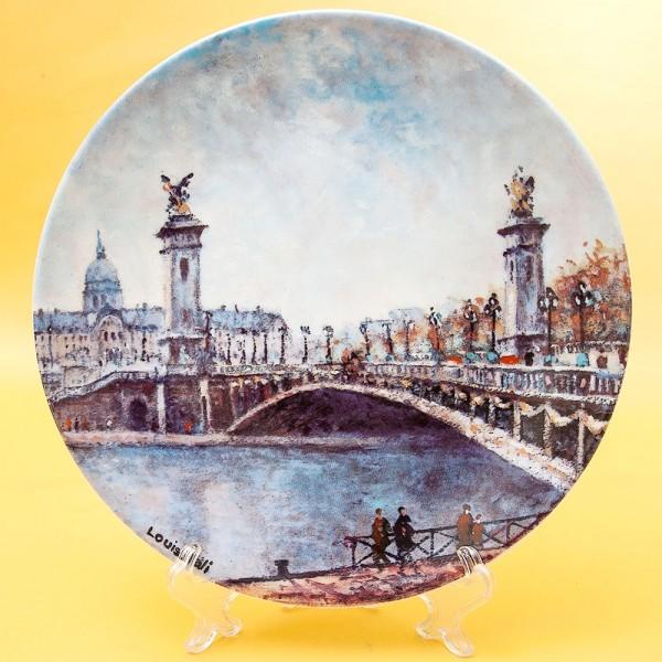 Коллекционная Тарелка «Париж - Мост Александра III» Фарфор, Лимож, Limoges, Франция.
