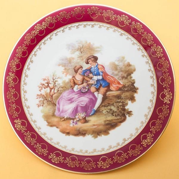 Коллекционная Тарелка «Свидание в лесу» Фарфор, Лимож (Limoges) Франция, середина ХХ века.