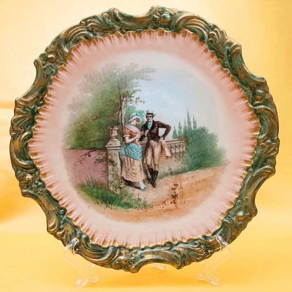 Антикварное Коллекционное Блюдо - Тарелка «Свидание» Франция, Limoges начало ХХ века.