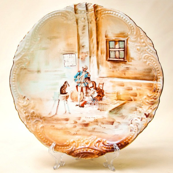 Антикварное Коллекционное Блюдо - Тарелка «Кошка и утка» Франция, Limoges начало ХХ века.