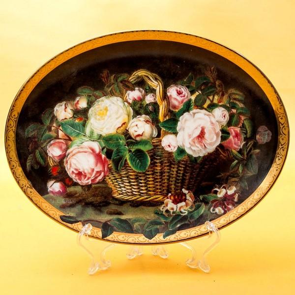 Коллекционная Тарелка «Розы в корзине» Фарфор Grande Copengagen Дания -1998 год.
