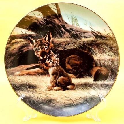 Коллекционная Тарелка Охота - «Красный волк», Фарфор W.J.GEORGE США -1989 год.
