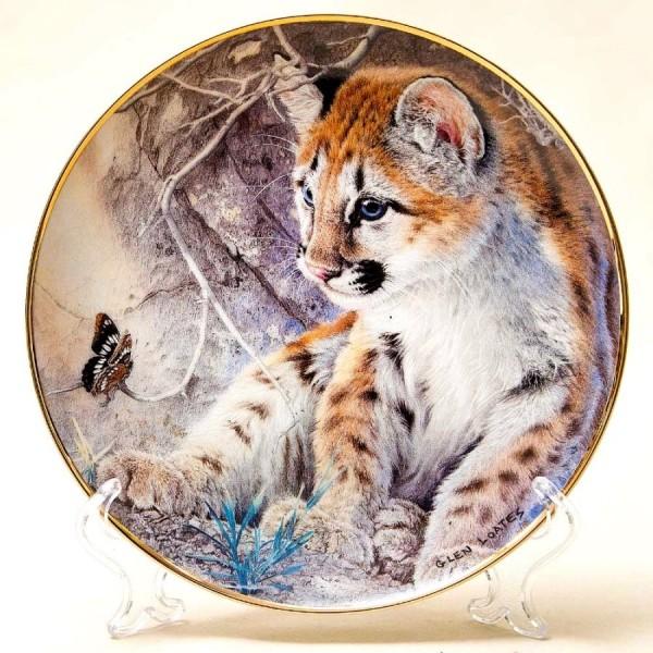 Коллекционная Тарелка «Дикие кошки»-«Первая Встреча» США, The FRANKLIN MINT.