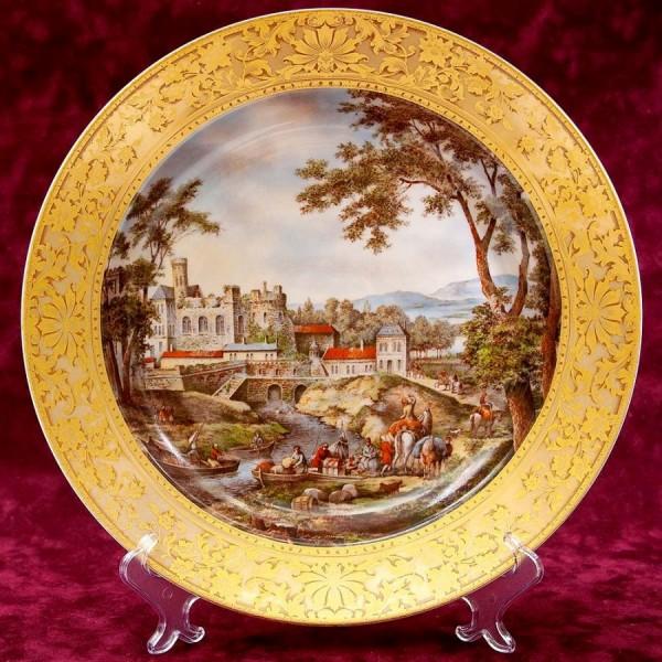 Большое Коллекционное Блюдо - Тарелка «Пейзаж на реке» Фарфор KAISER Германия.