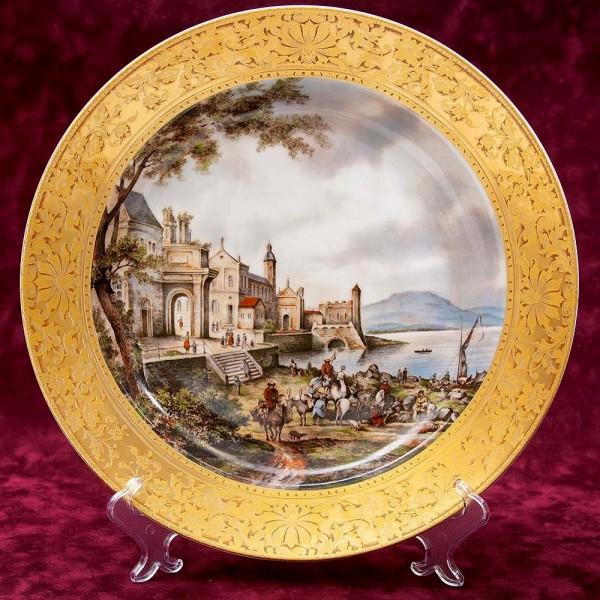 Большое Коллекционное Блюдо - Тарелка «Пейзаж на набережной» Фарфор KAISER Германия.