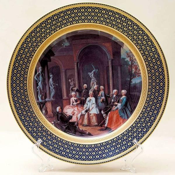 Большое Коллекционное Блюдо - Тарелка «Празднование удачной Охоты» Фарфор KAISER Германия.