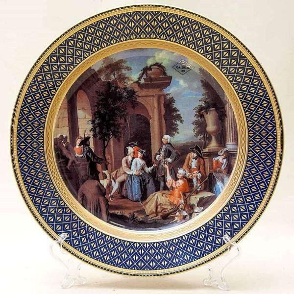 Большое Коллекционное Блюдо - Тарелка «Привал на Охоте» Фарфор KAISER Германия.